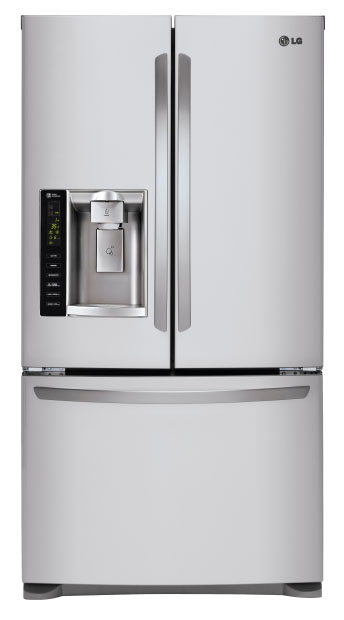 """LG LFXS24626S 36"""" French Door Refrigerator with 24.1 cu. ft. Capacity Water/Ice Dispenser Smart Cooling System 4 SpillProtector Glass Shelves 2 Humidity Drawers in Stainless Steel"""