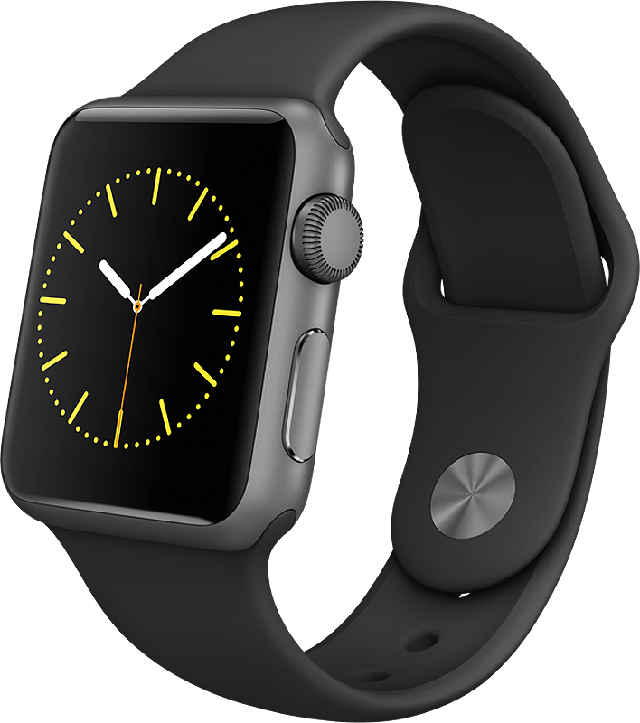 Apple Watch Sport 38mm Space Gray Aluminum Case With Blac...
