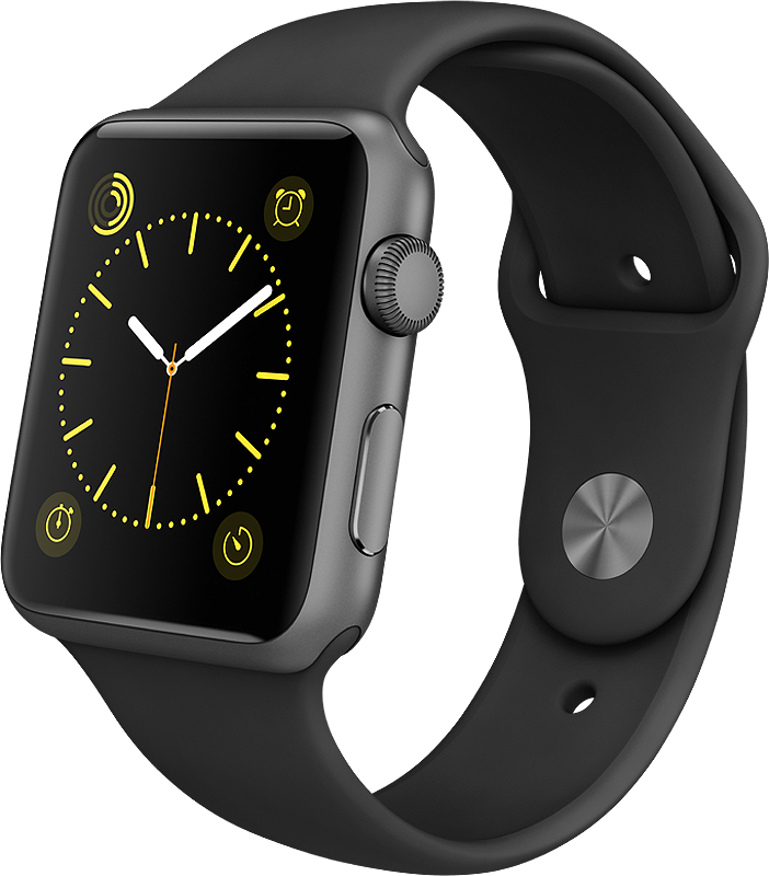 Apple Watch Sport 42mm Space Gray Aluminum Case With Blac...