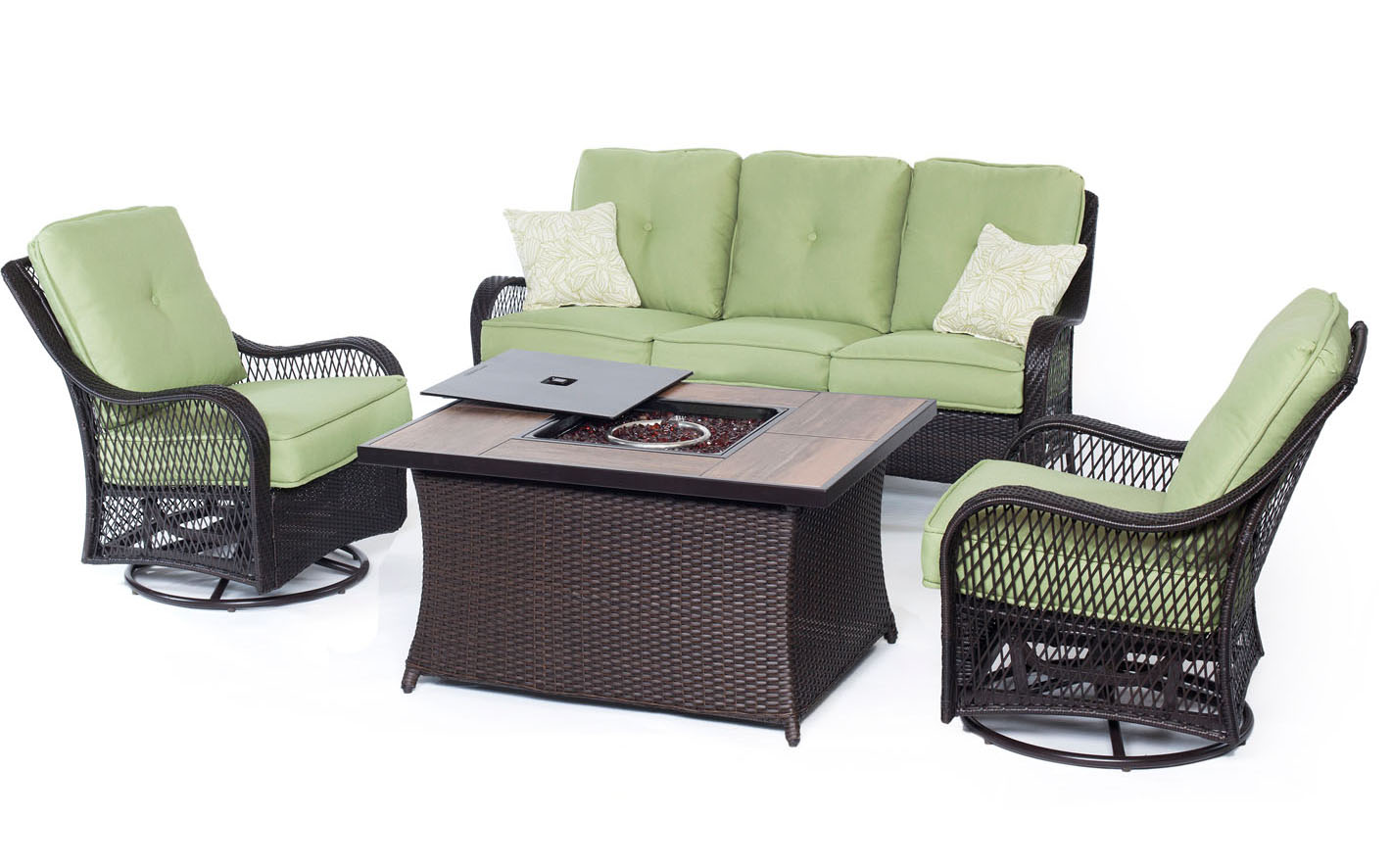 Hanover Orleans Avocado Green 4-Piece Fire Pit Outdoor Seating Patio Set