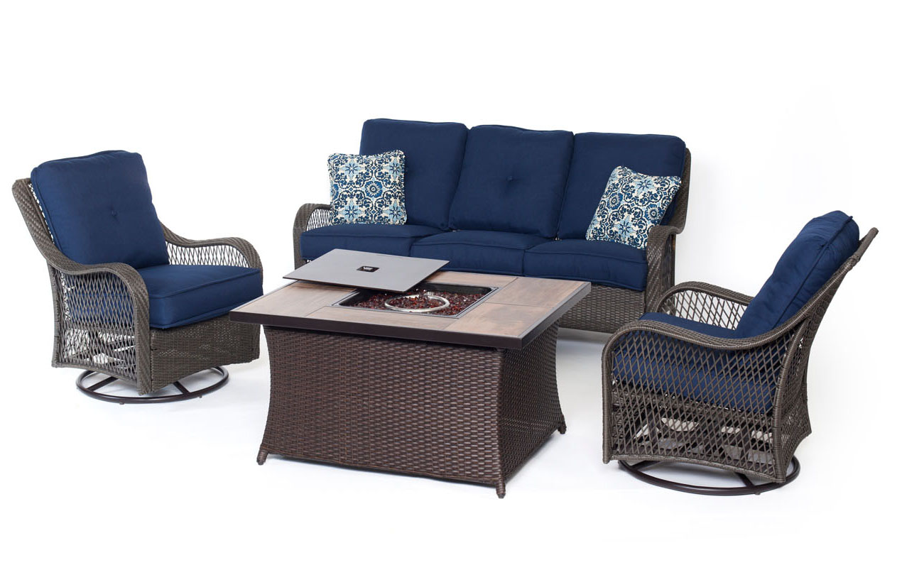 Hanover Orleans Navy Blue 4-Piece Fire Pit Outdoor Seating Patio Set