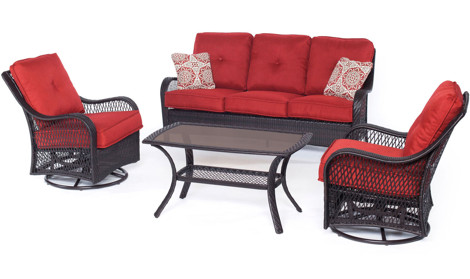 Hanover Orleans Autumn Berry & French Roast 4-Piece Outdoor Seating Patio Set