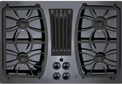 "GE Profile 30"" Black Built-In Gas Downdraft Cooktop"