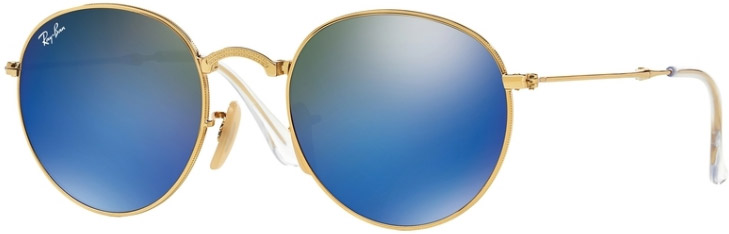 Ray-Ban Gold Round Metal Folding Unisex Sunglasses