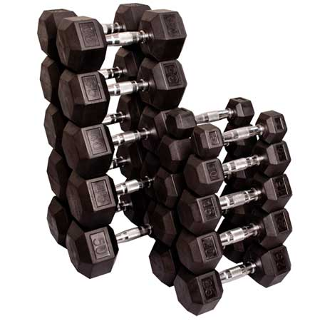 Body Solid Rubber Coated Hex Dumbell Set