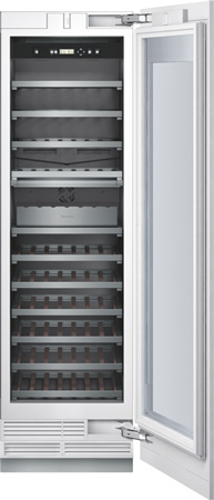 "Thermador T24IW800SP 24"" Freedom Collection Built In Flush Wine Preservation Column With 80 Bottle Capacity Dual Temperature Zones Freedom Hinge UV Protective Glass Door And LED Lights: Panel Ready"