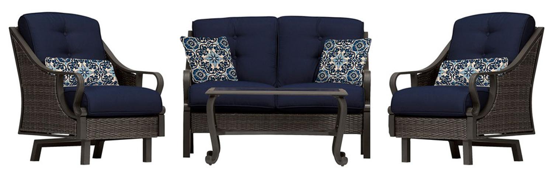 Hanover Ventura Navy Blue 4-Piece Outdoor Seating Patio Set