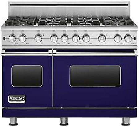 "Viking 48"" Pro-Style Cobalt Blue Freestanding Gas Range"