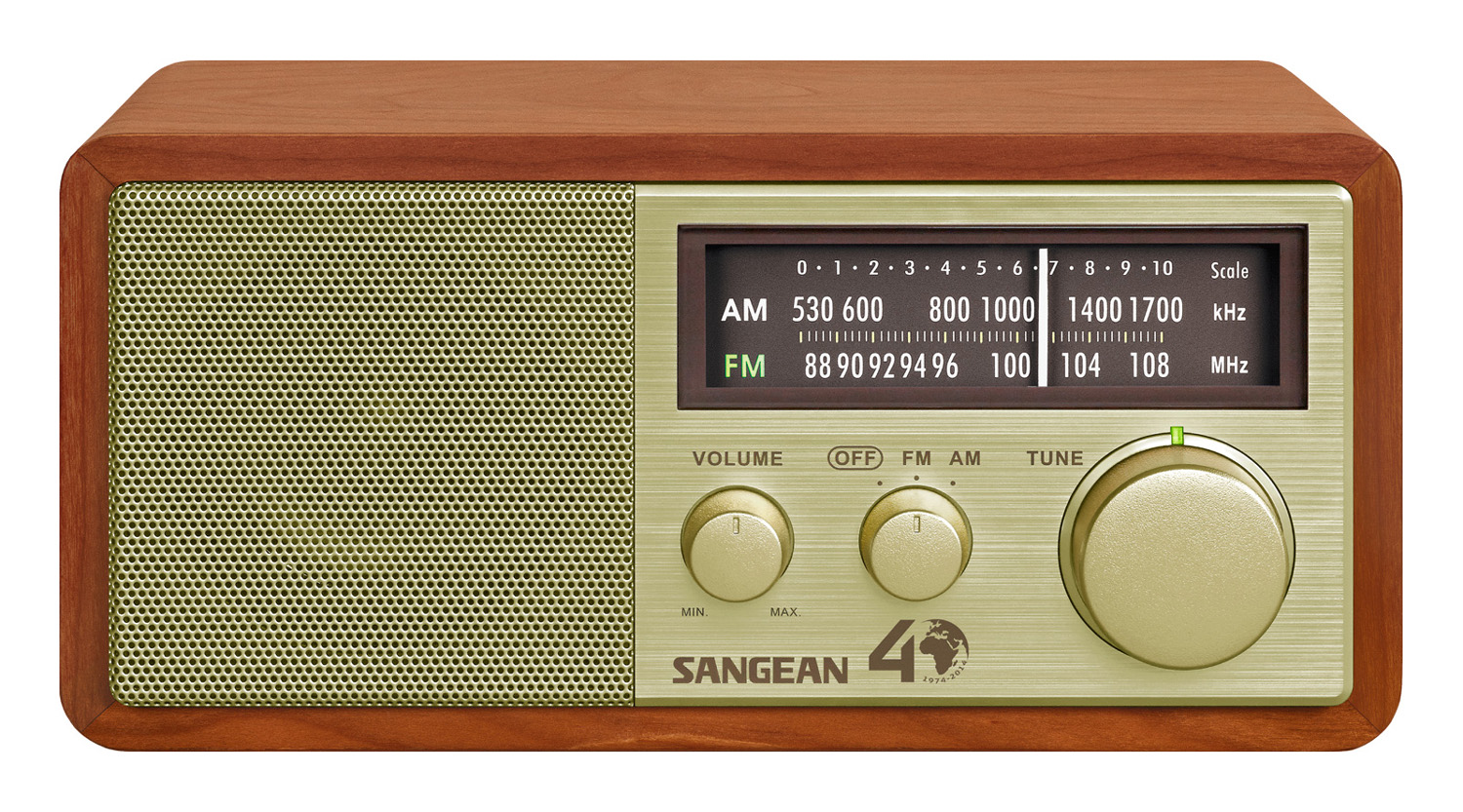 Sangean AM/FM Gold Analog Wooden Cabinet Receiver