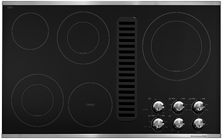 "KitchenAid Whirlpool KECD867 36"" Electric Downdraft Cooktop"