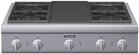 """Thermador 36"""" Pro Series Stainless Steel Gas Rangetop"""