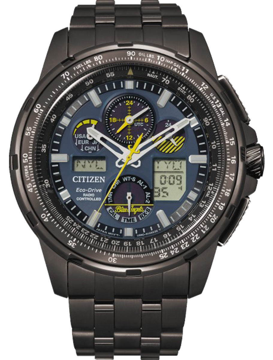 Citizen Eco-Drive Promaster Skyhawk A-T Black Stainless Steel Blue Angels Special Edition Mens Watch JY8097-58L