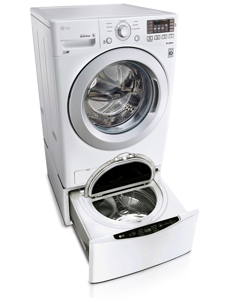 LG White Front Load Washer with SideKick Pedestal Washer