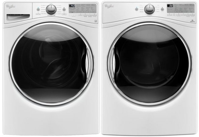 Whirlpool White Front Load Steam Washer with Gas Dryer
