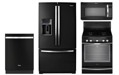 Whirlpool Gold Black Ice Kitchen Appliance Package with G...
