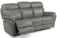 Flexsteel Zoey Light Grey Leather Power  Reclining Sofa With Power Headrests