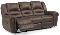Flexsteel Downtown Dark Brown Fabric Power Reclining Sofa