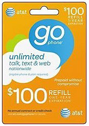 AT & T $100 GoPhone Refill Card