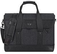 "SOLO Bradford 15.6"" Black Briefcase Messenger Bag"