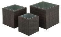 Hanover 3-Piece Square Resin Planter Set Two-tone dark brown HANPLNT-SQR