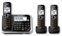 Panasonic Expandable Black Digital Cordless Answering System With 3 Handsets - KX-TG6843B