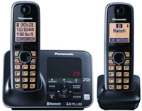 Panasonic Black Link-To-Cell Bluetooth Digital Cordless Phone System - KX-TG7622B