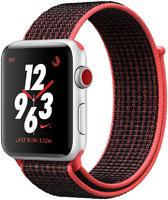 Apple Watch Nike+ 38mm GPS + Cellular Silver Aluminum Case Bright Crimson/Black Nike Sport Loop