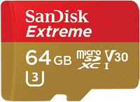 SanDisk Extreme 64GB Class 10 V30 UHS-I microSDXC Memory Card