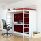 Leto Muro Abel Series White And Burnt Red Bunk Bed With Desk