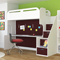 Leto Muro Abner Series White And Burnt Red Bunk Bed With Desk And Storage