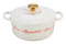 "Le Creuset 4.5 Quart ""Bon Appetit"" White Round Dutch Oven With Gold Knob"