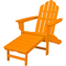 Hanover Adirondack Tangerine All-Weather Chair With Attached Ottoman