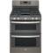 """GE 30"""" Slate Freestanding Double Oven Gas Range"""