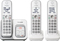 Panasonic White Expandable Cordless Phone With 3 Handsets