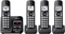 Panasonic Metallic Black Link2Cell Bluetooth Cordless Phone With 4 Handsets