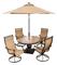 Hanover Brown Monaco 5-Piece Outdoor Dining Patio Set with Umbrella