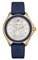Michele Cape Navy Gold Tone Topaz Dial Womens Watch