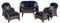 Hanover Newport Navy Blue 6-Piece Outdoor Seating Patio Set