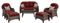 Hanover Newport Crimson Red 6-Piece Outdoor Seating Patio Set
