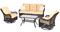 Hanover Orleans Sahara Sand & French Roast 4-Piece Outdoor Seating Patio Set