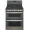 """GE Profile 30"""" Slate Double Oven Gas Range"""
