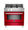 "Bertazzoni Professional Series 36"" Red Dual Fuel Range"