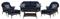 Hanover San Marino Navy Blue 6-Piece Seating Patio Set