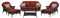 Hanover San Marino Crimson Red 6-Piece Seating Patio Set