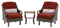 Hanover Ventura Crimson Red 3-Piece Outdoor Chat Patio Set