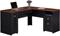 """Bush Furniture Fairview Collection  60"""" Antique Black L-Desk"""