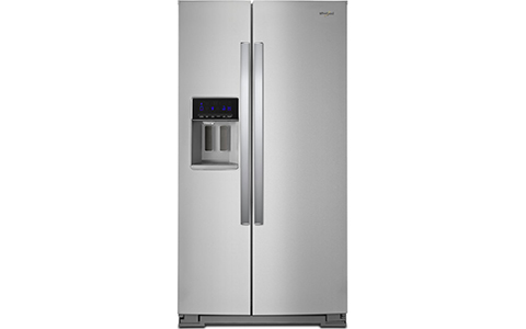 Shop this Whirlpool 36 inch Fingerprint Resistant Side-By-Side Refrigerator