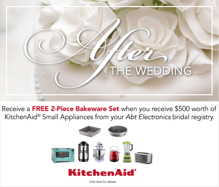 Receive a FREE 2-Piece Bakeware Set when you receive $500 worth of KitchenAid Small Appliances from your Abt Electronics bridal registry