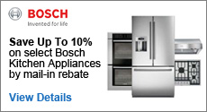Bosch - Receive up to a 10% Mail-In Rebate with the purchase of select Kitchen Appliances. Expires: 8-31-14