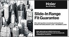 Haier Slide-in Range Fit Guarantee Promo
